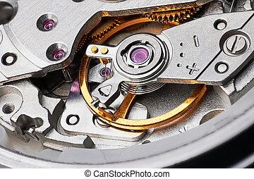utrustar, mekanism, klocka
