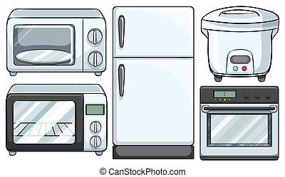 utrustning, använd, elektronisk, kök