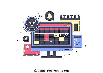 utrustning, avskärma, dator, planning., schema