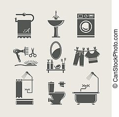 utrustning, badrum, sätta, ikon