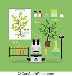 utrustning, biologi, forska