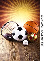 utrustning, blandad, sports