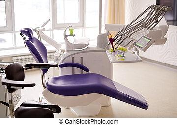 utrustning, dental, nymodig rum