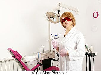utrustning, dental, tandläkare ämbete, kvinnlig
