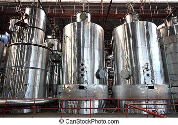 utrustning, fabrik, evaporator
