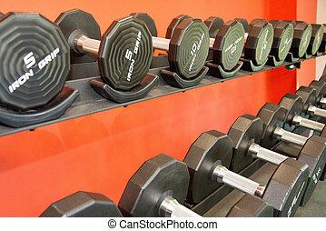 utrustning, gymnastiksal, barbells