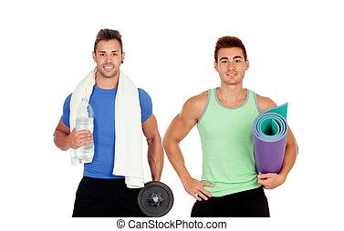 utrustning, gymnastiksal, män, två, muskulös