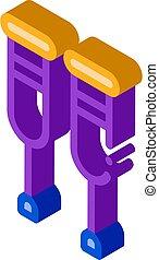 utrustning, isometric, ortopedisk, ikon, kryckor, vandrande