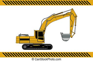 utrustning, konstruktion maskiner, grävmaskin