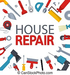 utrustning, reparera, verktyg, concept., hand