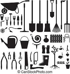 utrustning, sätta, trädgård