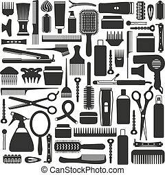 utrustning, set., frisering, ikon