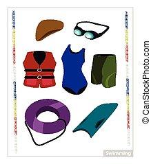 utrustning, vit, sätta, bakgrund, simning