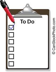 utrymme, checklista, märke, skrivplatta, avskrift, kontroll