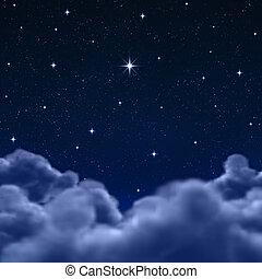 utrymme, eller, natt himmel, genom, skyn