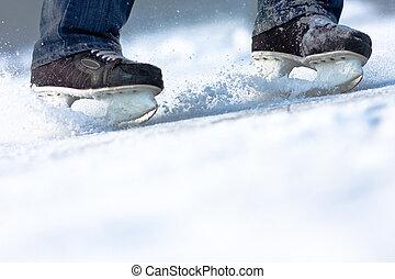 utrymme, inridning, is, välstånd, skridskor, avskrift