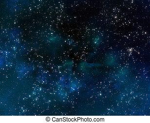 utrymme, med, blå, nebulosa, skyn