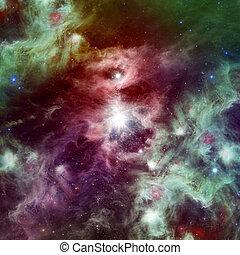 utrymme, nebulosa, med, lysande, stjärnor
