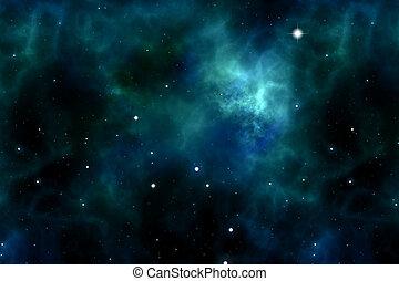 utrymme, och, stjärnor