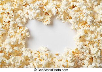 utrymme, text., bakgrund, popcorn, vit, tom