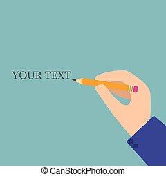 utrymme, text., illustration, hand, vektor, pencil.