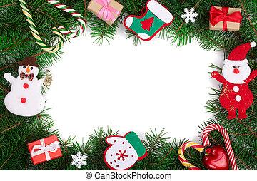 utrymme, text, ram, vit, isolerat, din, bakgrund, dekorerat, avskrift, jul