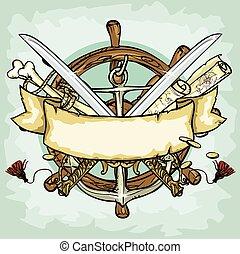 utrymme, text, sjörövare, vektor, illustrationer, logo, ...