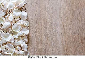 utrymme, trä, ro, text., petals, bakgrund, vit, din
