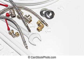utrymme, utrustning, rörarbete, vit, avskrift, redskapen