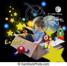 utrymme, vetenskap, pojke, i boxas, med, stjärnor, på, svart