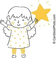 utrzymywać, ilustracja, lustrzany, doodle, koźlę, dziewczyna, gwiazda