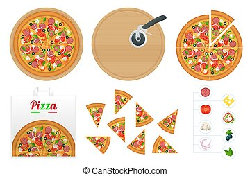 utsökt, branding., smaklig, bakgrund., använd, frisk, varm, klassisk, design, isometric, isolerat, skiva, ingredienser, vit, italiensk, pizza, pizza, spices.