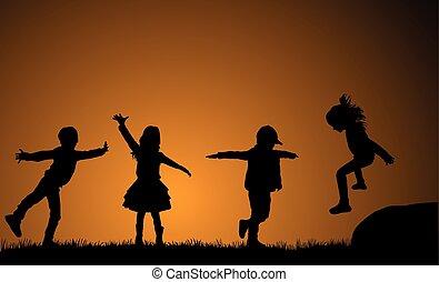 utsida., leka, barn, bakgrund, sunset.