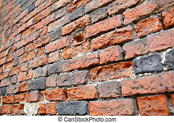 utsikt., perspektiv, wall., röda tegelsten