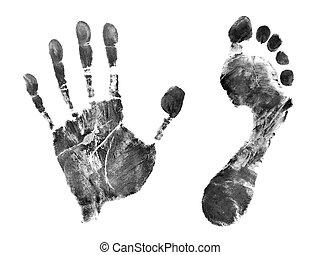 utskrift, av, hand, och, fot