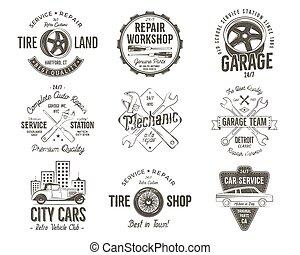 utslagsplats, auktioner, verkstad, vektor, klassisk, design., färger, isolerat, retro, bilar, reparera, god service, insignias, bil, collection., monokrom, årgång, shirt., garage, etiketter, klubben, märken