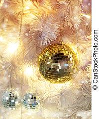 utsmyckningar, boll, lov, färsk, bakgrund, bokeh, jul, gyllene, lätt, år