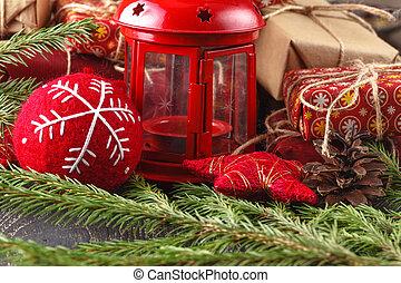 utsmyckningar, gåva, trä, rustik, rutor, bakgrund, bord, jul