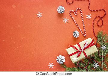 utsmyckningar, utrymme, text., julgåva, bakgrund., boxas, röd