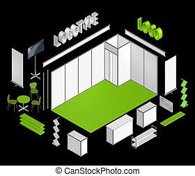 utställning, bås, isometric, hi-res, 3, mall