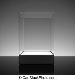 utställning, glas, tom, utställningsmonter