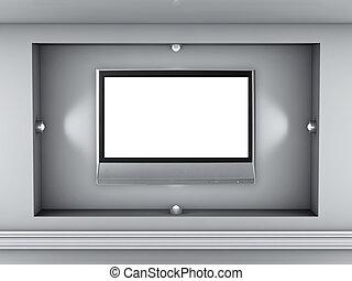 utställning, nisch, spotlights, tv, grå, lcd, inre, tom, 3