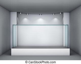 utställning, nisch, spotlights, utställningsmonter, glas, ...
