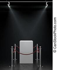 utställning, spotlights., tom, utställningsmonter