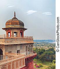 uttar, インド, 城砦, pradesh, 赤, agra