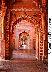 uttar, wewnętrzny, masjid, jama, fatehpur, sikri, indie, pradesh