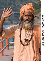 uttarakhand, indien, (holy, devprayag, india., sadhu, man).