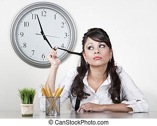uttråkad, kvinna, avsluta, dag