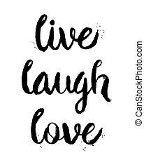 uttryck, levande, kärlek, skratta