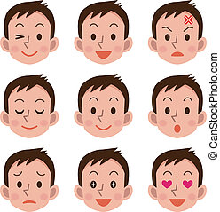 uttryck, manlig, ansiktsbehandling